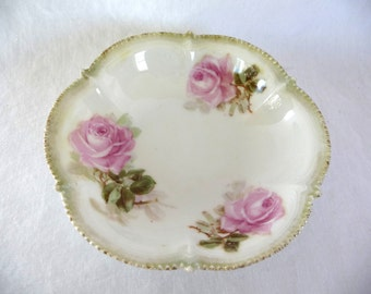 vintage Bowl, R & S Germany, Porcelain Dish, scalloped edges, beaded type edge, Pink Roses, vintage Housewares, Home Decor,Unique Dish,glass