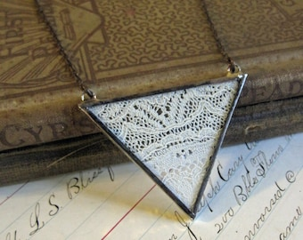 Antique Lace Necklace Triangle Bib Jewelry