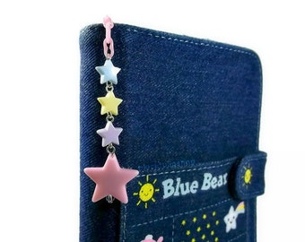 Planner Charm Kawaii Pastel Stars Planner Accessories Personal Organizer Cell Phone Charm Light Pink Yellow Blue Purple Dreamy Stars
