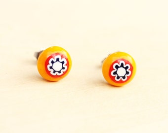 Orange Glass Flower Studs