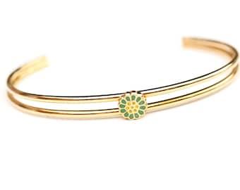 Green Flower Cuff Bracelet