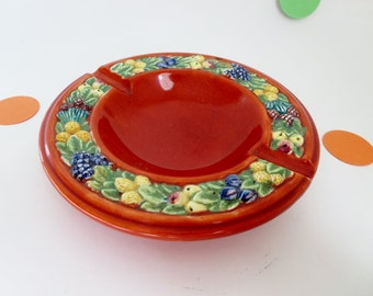 Vintage Italian Pottery Ashtray - Round Ashtray - Trinket Dish - Raised Fruit Rim -  Made in Italy Byy FZR