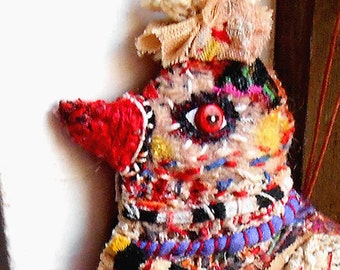 Original doll ornament  textile colourful Bird hand made hand stitched OOAK by miliaart studio