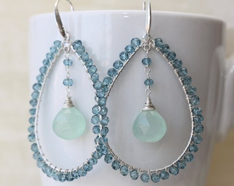 Blue London Topaz, Blue Chalcedony Earrings, Spring Easter Trend, Bridal Shop, Wedding, Birthday Gift for Wife, Mothers Day Gift, For Sister