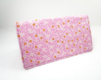 Pink Fabric Checkbook Cover / Washable / Handmade