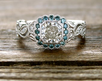 Radiant Cut Diamond Engagement Ring in 14K White Gold with Teal Blue Diamonds in Flower Blossoms and Leafs on Vine Size 7