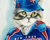 Cat Paintings Portraits, Cats in Clothes Paintings,  Baseball Uniform, Original Art Oil Painting New York Giants  by k Madison Moore