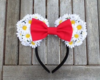 White Daisy Minnie Ears With Red Bow