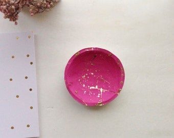 Pink and Gold Jewelry Dish/Mini Jewelry Dish