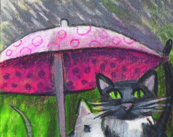 original art  aceo drawing cat and rat rainings cats and dog