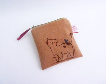 Illustrated Pouch, Small Change Purse, Cat Pouch, Coin Purse, Cat Purse, Zipper Pouch, Women Pouch, Coin Wallet, Zipper Wallet - Cat