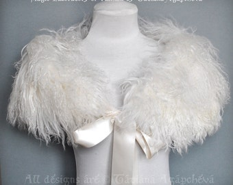Wedding Cape Real Mongolian Lamb Sheep Fur Cape, Fashion Couture Shawl, Caplet, Capelet, 2015