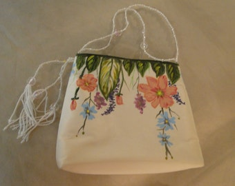 HAND painted Bridal purse Art Nouveau with crystal bead tassels