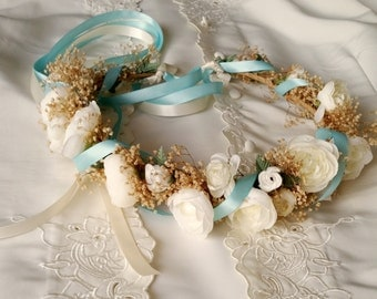 Dried Flower Bridal Crown Robin Egg Blue Floral hair wreath silk Ivory ranunculus Headdress wedding acessories artificial halo circlet