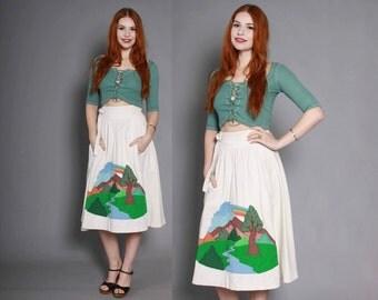 70s Custom Applique JEAN SKIRT / 1970s Boho High Waisted Rainbow Woods Scene White Denim Wrap Skirt
