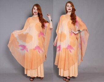 70s Bird Print CAFTAN DRESS / 1970s Bohemian Sheer Peach Layered Chiffon Maxi