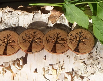 Wood Burned Tree Buttons-Rustic Buttons-Tree Slice Buttons