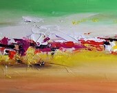 Original Abstract Painting Yellow Green Seascape Textured Acrylic Modern Wall Hanging 16x31""