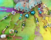 Artistic Oceans Jellyfish Copper Statement Earrings with Freshwater Pearls, Quartz Crystal, Blue Quartz and Crystal