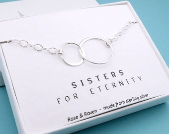 Sisters Bracelet, Eternity Circle, sterling silver, message card, gift for sisters, best friends bracelet, gift for her, eternal love