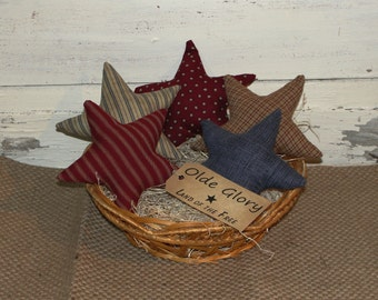 Hand made Primitive Americana Homespun Stars with Grungy Tag set of 5 - Bowl Fillers-Stars