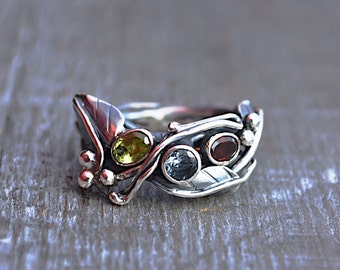 Sterling Silver Mother's Ring Birthstone Ring Custom Order Handmade Wild Prairie Silver Jewelry