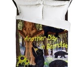 Another day in bearadise black bear Duvet Cover from my artwork.
