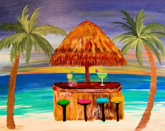 Sunset beach tiki bar beach house coastal pillow case from my original art