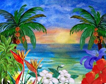 Floral ocean beach sunset beach house coastal pillow case from my original art