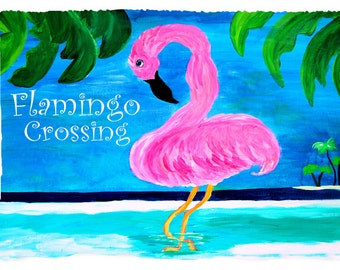 Flamingo crossing Beach Towel from my art