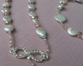Bride Wedding Rosary Coin Pearl Beads Off White Blush Accents Rhinestone Infinity Middle Rhinestone Cross Long Elegant