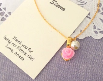 Rose, flower girl, necklace, pearl, in GOLD plated, comes with personalized card and ORGANZA BAG.