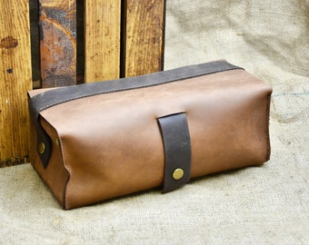 Leather Toiletry Kit - Toiletry Case - Leather Dopp Kit - Leather Toiletry Bag - Men's Wash Bag with Waterproof Removable Lining, Travel Bag