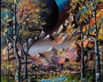 Abstract Aspens XIV - Print of Surreal Landscape Aspen Tree Creek Painting by Mizu