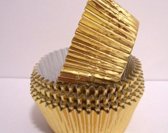 Gold Foil Cupcake STANDARD Size Liners- Choose Set of 50 or 100