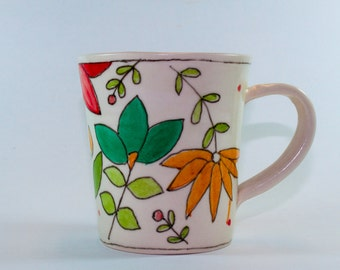 Colorful Floral Coffee Mug, Ceramic Mug, Pottery Hand Painted Mug SKU156-01