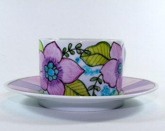 Charming teacup and saucer, Hand Painted Teacup and Saucer, Coffee Cup Small SKU156-04