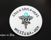 BSN Nursing Personalized Pin, Handstamped Nursing Pin, Nurse Graduation Gift, Nurse Pin, Bachelor Science Nurse Pin Pinning Ceremony