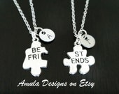 Best Friends Puzzle Piece Set of Two Personalized Handstamped Tag Necklace Set