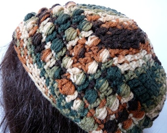 Crochet Slouchy Hat in Multi Color Green, Brown, Beige for Women and Teens, Beanie, Tam, Rasta, Beret