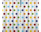 Custom Window Curtain, Rainbow Multi Color Polka Dots - Any Size - Any Colors - Any Pattern