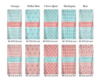 Custom Personalized Beach Towels -Five Patterns - Ten Colors - Lt Coral and Lt Aqua - Robins Egg BLue Combo Pattern