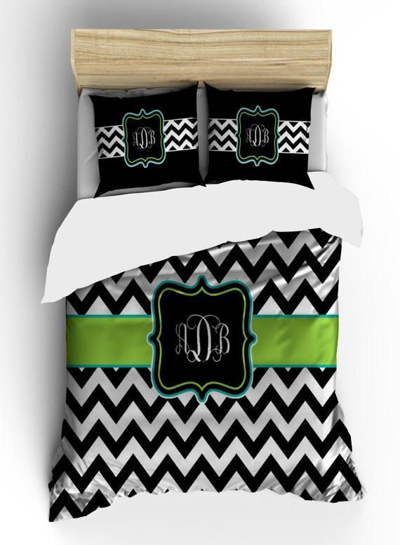 Items similar to personalized custom chevron bedding black and white