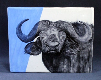 Hand Painted African Water Buffalo Portrait Wall Tile Baby Blue
