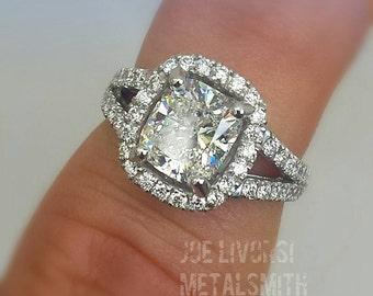 2.75 Carat Cushion Cut Diamond Engagement Ring in Platinum Halo Setting