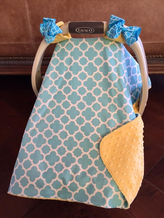 items similar to super cute baby car seat covers teal quatrafoil and yellow minky bows incl. Black Bedroom Furniture Sets. Home Design Ideas