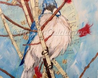 "Mixed Media Collage Art, Original Painting, Acrylic Painting, Blue Jay Bird, Bird Painting, Bird Art, Wall Art Decor, Keepsake, 7 1/2""X11"""