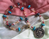 GUARDIAN OF TIBET Necklace (Brass, Citrine, Turquoise, Carved Bone, Red Coral)