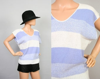 Vintage 80s Knit Top / Striped Shirt / Sleeveless Sweater / 1980s Slouch / Slouchy Knit / Medium