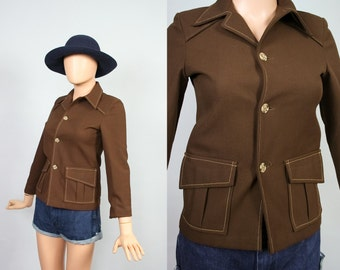 Vintage Fitted Boys Blazer / Tailored 70s Brown Jacket / 1970s Riding Blazer / Retro Top / Womens Extra Extra Small